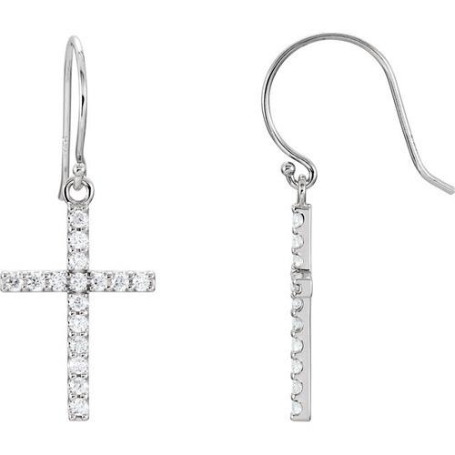 14kt White Gold Diamond Cross Earrings 1.71 Grams