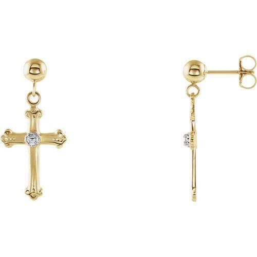 14kt Yellow Gold Diamond Cross Dangle Earring 15 X 10.5