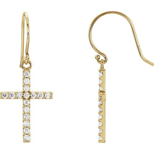 14kt Yellow Gold Diamond Cross Earrings 1.78 Grams