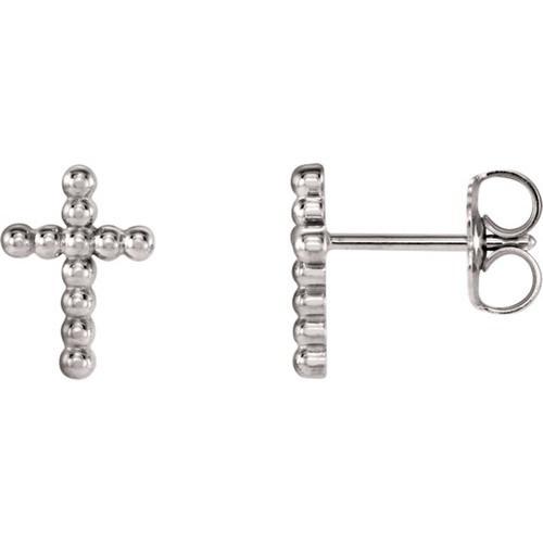 14kt White Gold Cross Beaded Earrings 9.45 X 6.85