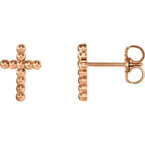 14kt Rose Gold Cross Beaded Earrings 9.45 X 6.85