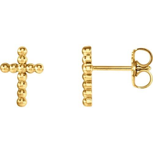 14kt Yellow Gold Cross Beaded Earrings 9.45 X 6.85
