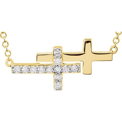 "14kt Yellow Gold  1/6 CTW Diamond Double Sideways Cross 18"" Necklace"