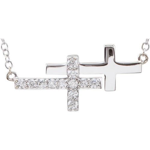 "14kt White Gold  1/6 CTW Diamond Double Sideways Cross 18"" Necklace"