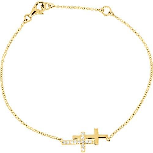 "14kt Yellow Gold  1/6 CTW Diamond Double Sideways Cross 8"" Bracelet"