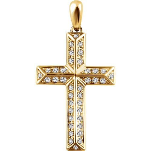 14kt Yellow Gold 1/4 CTW Diamond Cross Pendant 2.05 Grams