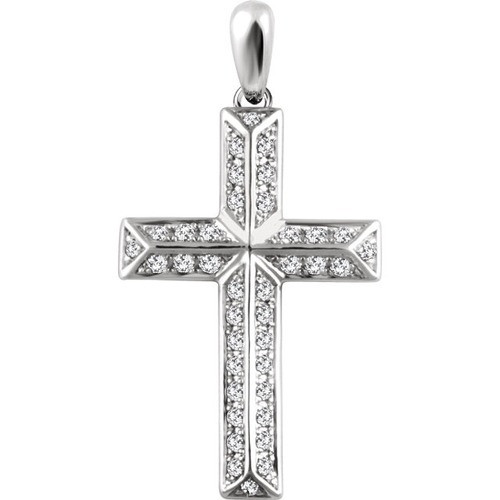 14kt White Gold 1/4 CTW Diamond Cross Pendant 2.05 Grams