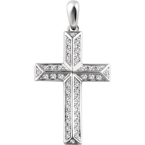 14kt White Gold 1/4 CTW Diamond Cross Pendant 2.05 Grams