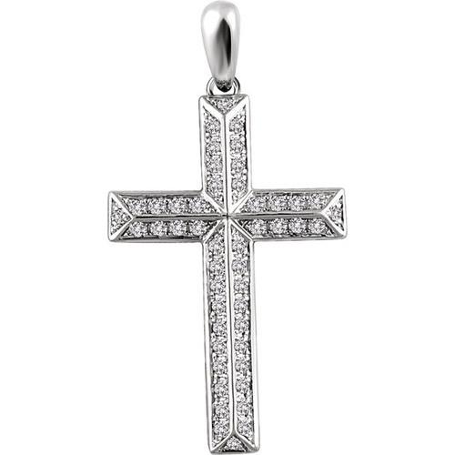 14kt White Gold 1/2 CTW Diamond Cross Pendant 2.89 Grams