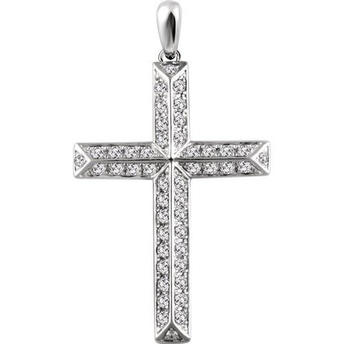 14kt White Gold 1 CTW Diamond Cross Pendant 3.75 Grams
