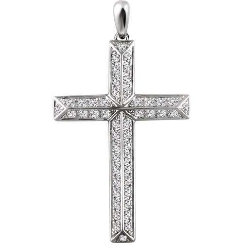 14kt White Gold 3/4 CTW Diamond Cross Pendant 2.95 Grams