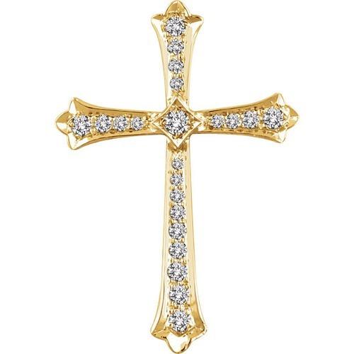 14kt Yellow Gold 1/4 CTW Diamond Cross Pendant 2.89 Grams