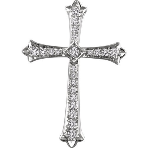 14kt White Gold 1/2 CTW Diamond Cross Pendant 4.45 Grams