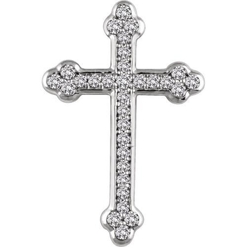 14kt White Gold 1/4 CTW Diamond Cross Pendant 1.9 Grams