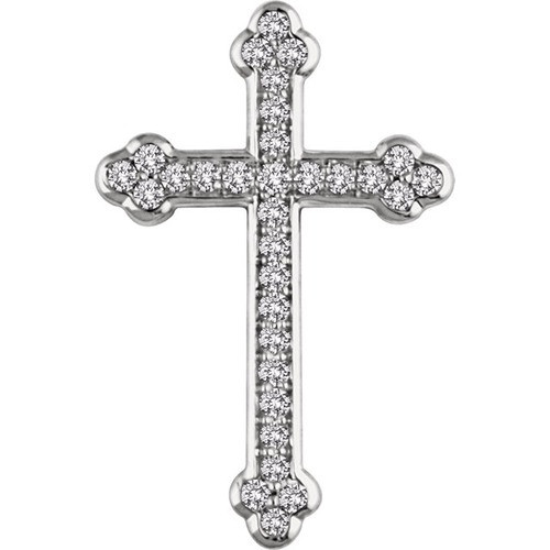 14kt White Gold 1/3 CTW Diamond Cross Pendant 2.19 Grams