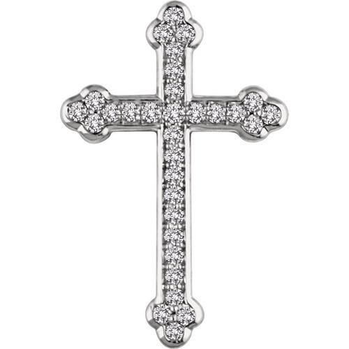 14kt White Gold 1/3 CTW Diamond Cross Pendant 2.19 Grams