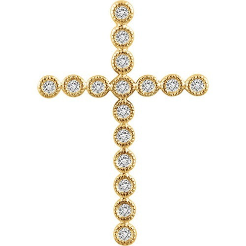 14kt Yellow Gold 1/4 CTW Diamond Cross Pendant 2.39 Grams