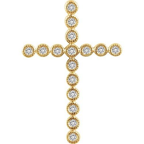 14kt Yellow Gold 1/4 CTW Diamond Cross Pendant 2.39 Grams