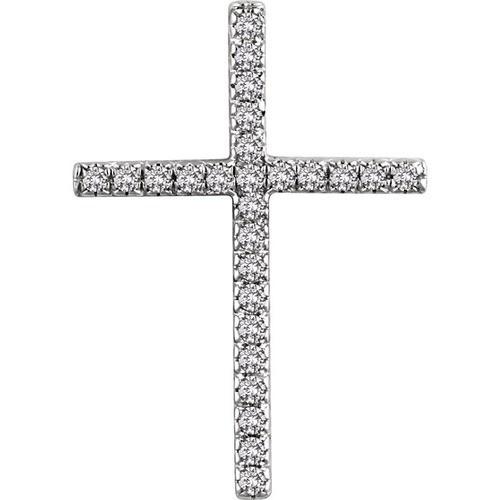 14kt White Gold 1/4 CTW Diamond Cross Pendant 2.15 Grams