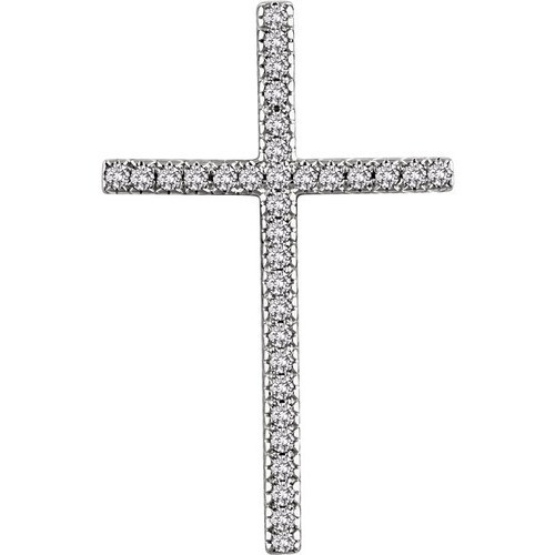 14kt White Gold 1/2 CTW Diamond Cross Pendant 4.81 Grams