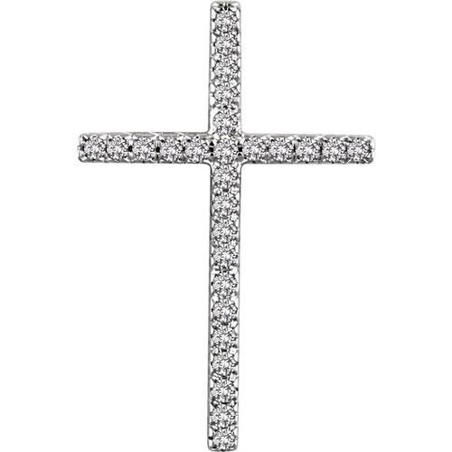 14kt White Gold 1/3 CTW Diamond Cross Pendant 2.85 Grams