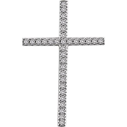 14kt White Gold 3/4 CTW Diamond Cross Pendant 7.29 Grams