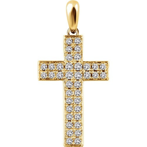 14kt Yellow Gold 1/4 CTW Diamond Cross Pendant 1.56 Grams