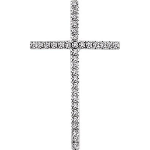 14kt White Gold 1 CTW Diamond Cross Pendant 8.51 Grams