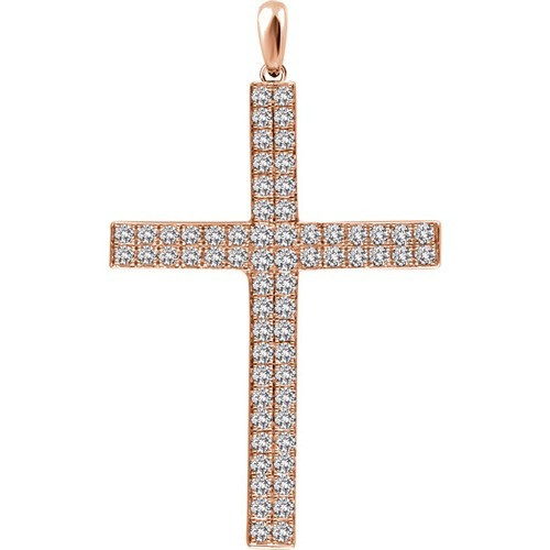 14kt Rose Gold 1 CTW Diamond Cross Pendant 2.26 Grams