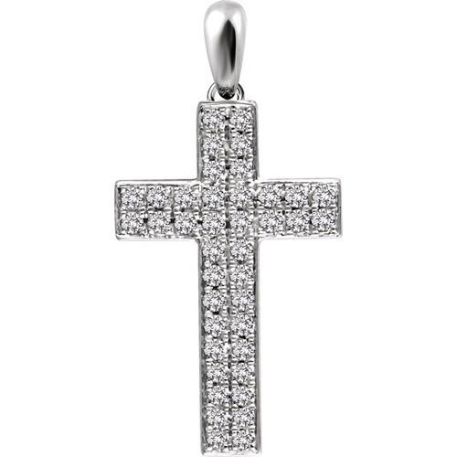 14kt White Gold 1/3 CTW Diamond Cross Pendant 1.7 Grams