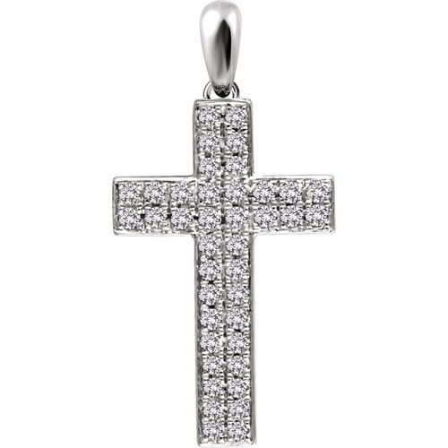 14kt White Gold 1/3 CTW Diamond Cross Pendant 1.7 Grams