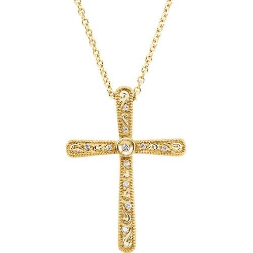 "14kt Yellow Gold  .05 CTW Diamond Cross 18"" Necklace"