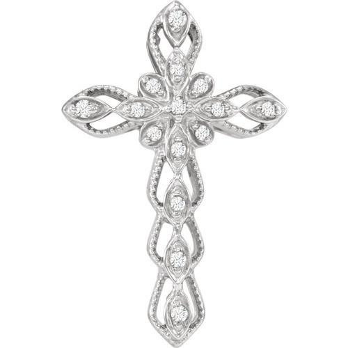 14Kt White Gold Diamond Cross Pendant, .07 CTW