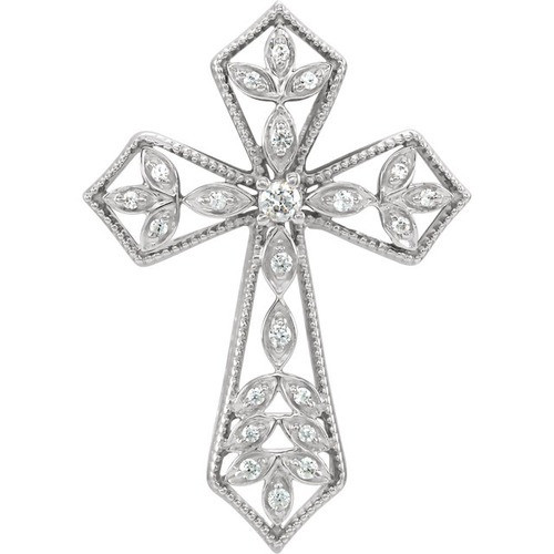 14kt White Gold 1/10 CTW Diamond Cross Pendant 3.09 Grams