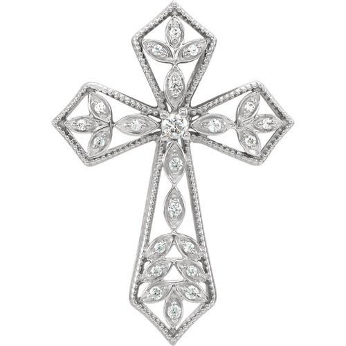 14kt White Gold 1/10 CTW Diamond Cross Pendant 3.09 Grams