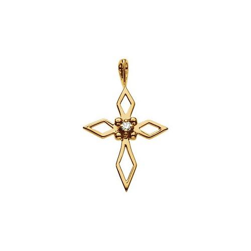 14kt Yellow Gold  Gold Cross 18x14 Pendant with Diamond