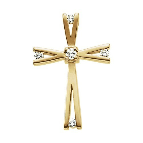 14kt Yellow Gold  .08 CTW Diamond Cross Pendant