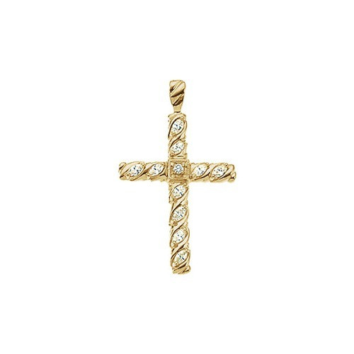 14kt Yellow Gold 3/4 CTW Diamond Cross Pendant 3.65 Grams