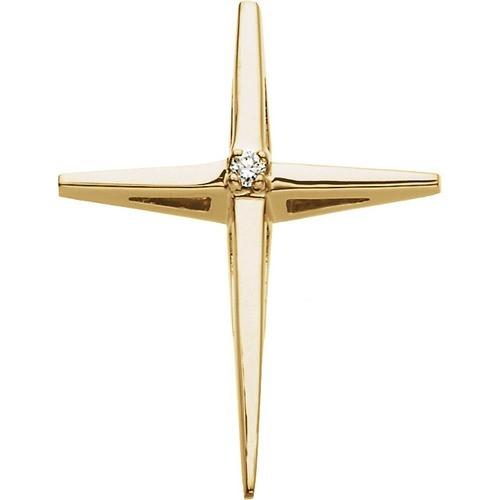14kt Yellow Gold .02 CTW Diamond Cross Pendant 2.58 Grams