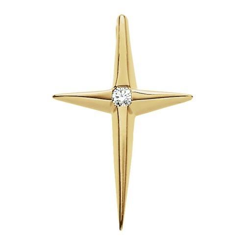 14kt Yellow Gold .02 CTW Diamond Cross Pendant 1.08 Grams