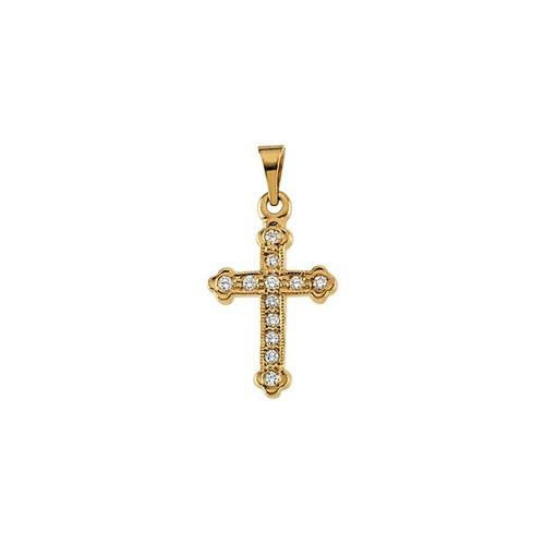 14kt Yellow Gold  Gold 16x11 Diamond Cross Pendant
