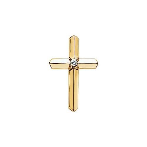 14kt Yellow Gold  .03 CTW Diamond Cross Pendant