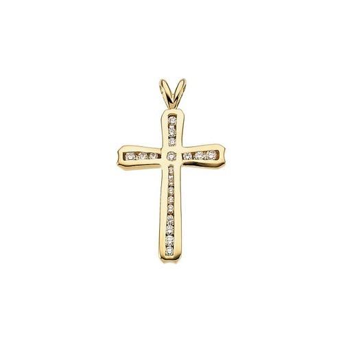 14kt Yellow Gold  Gold 24x17 Diamond Cross Pendant
