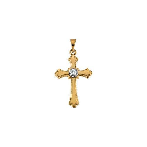 14kt Yellow Gold  21x15mm Diamond Cross Pendant