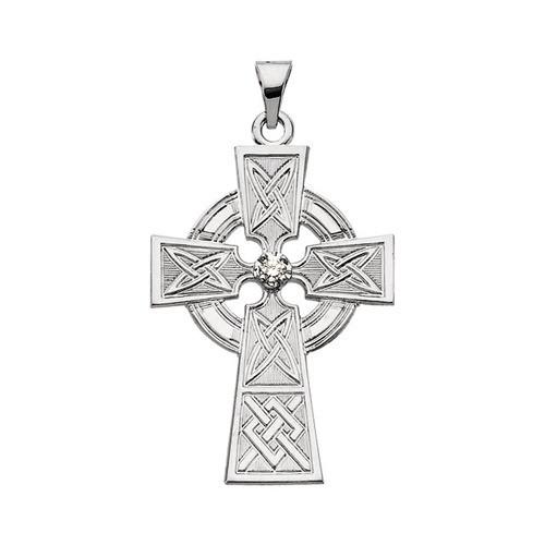 14Kt White Gold Diamond Cross Pendant, .06 CTW