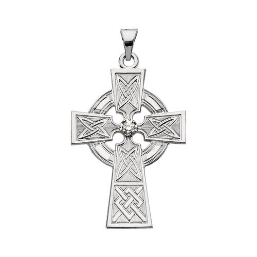 14Kt White Gold Diamond Cross Pendant, .06 CTW