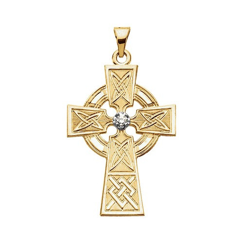 14Kt Yellow Gold Diamond Cross Pendant, .06 CTW