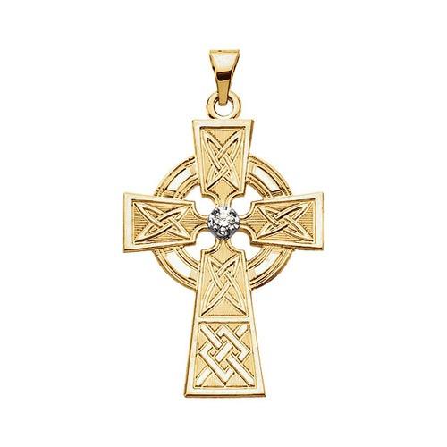 14Kt Yellow Gold Diamond Cross Pendant, .06 CTW
