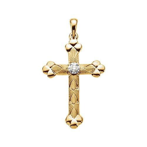 14kt Yellow Gold 1/10 CTW Diamond Cross Pendant 2.86 Grams