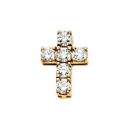 14kt Yellow Gold  Gold 15x11 Diamond Cross Pendant